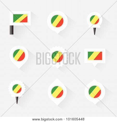 Republic Of The Congo Flag And Pins For Infographic, And Map Design