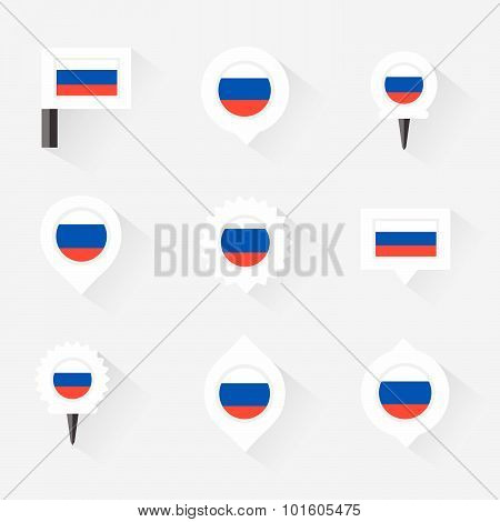 Russia Flag And Pins For Infographic, And Map Design