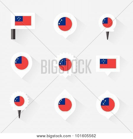 Samoa Flag And Pins For Infographic, And Map Design