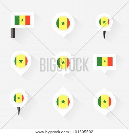 Senegal Flag And Pins For Infographic, And Map Design