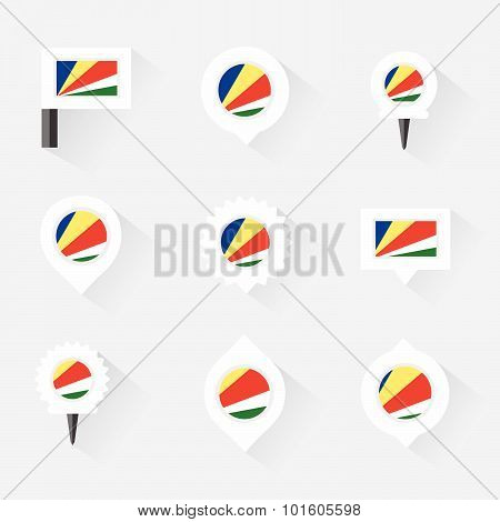 Seychelles Flag And Pins For Infographic, And Map Design