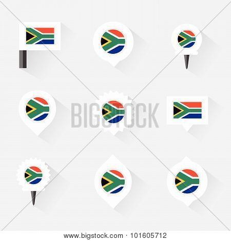 South Africa Flag And Pins For Infographic, And Map Design