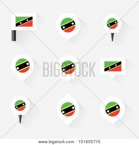 St Kitts & Nevis Flag And Pins For Infographic, And Map Design