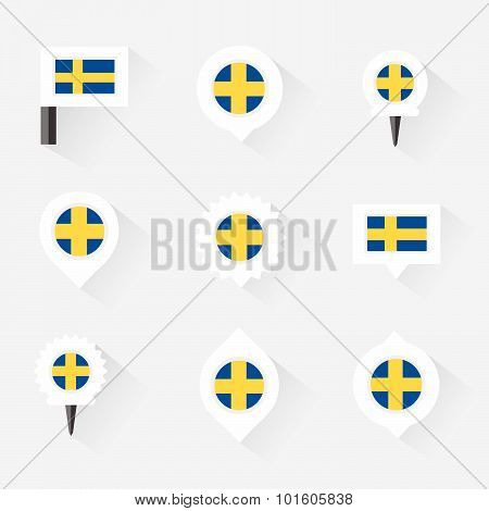 Sweden Flag And Pins For Infographic, And Map Design