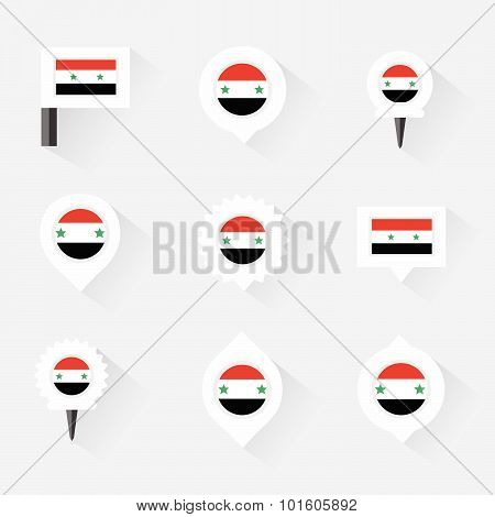 Syria Flag And Pins For Infographic, And Map Design