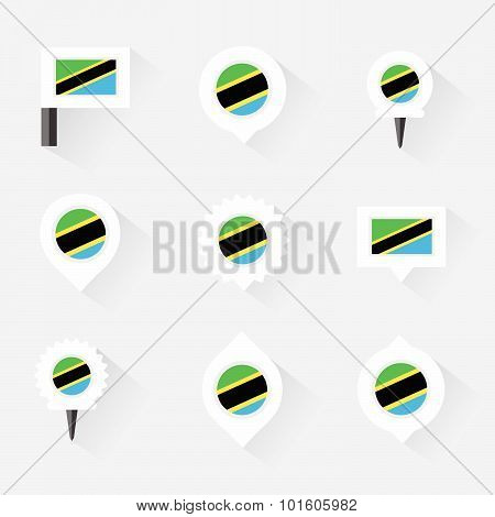 Tanzania  Flag And Pins For Infographic, And Map Design