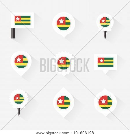 Togo Flag And Pins For Infographic, And Map Design