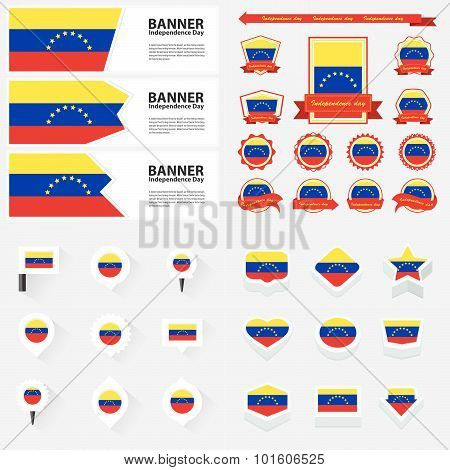 Venezuela Independence Day, Infographic, And Label Set.