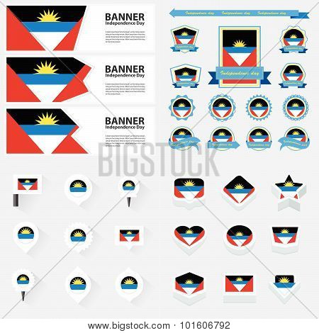 Antigua And Barbuda Independence Day, Infographic, And Label Set.