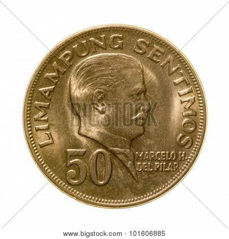 Coin Fifty Centimes Republic Of The Philippines Isolated On White Background.
