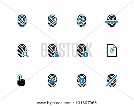Security fingerprint duotone icons.