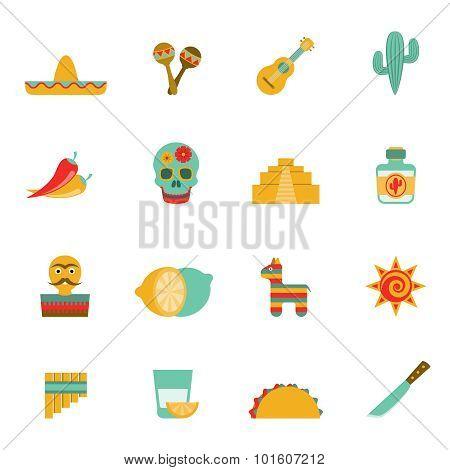 Mexican culture symbols flat icons set