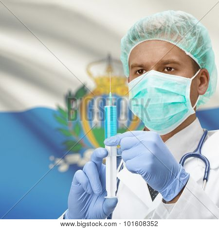 Doctor With Syringe In Hands And Flag On Background Series - San Marino