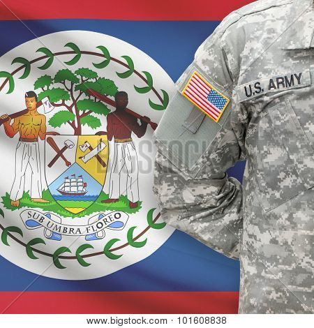 American Soldier With Flag On Background - Belize