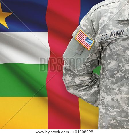 American Soldier With Flag On Background - Central African Republic