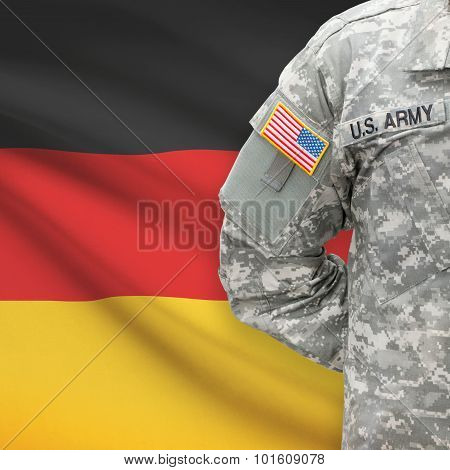 American Soldier With Flag On Background - Germany