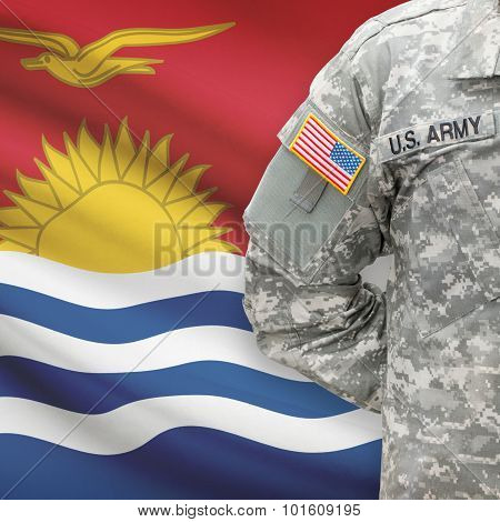American Soldier With Flag On Background - Kiribati
