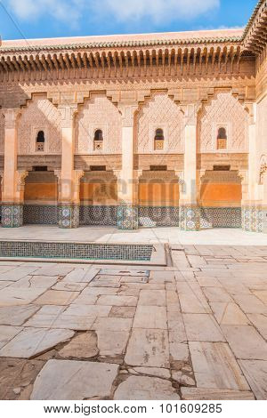 MARRAKESH, MOROCCO, APRIL 16, 2015: The Ben Youssef Madrasa