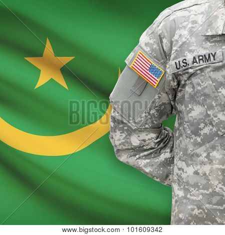 American Soldier With Flag On Background - Mauritania