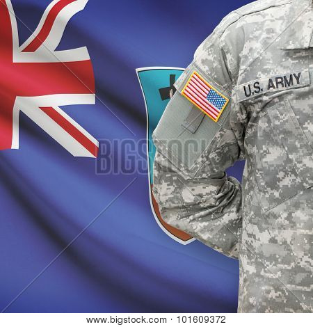 American Soldier With Flag On Background - Montserrat