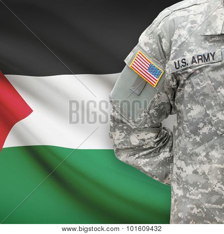 American Soldier With Flag On Background - Palestine