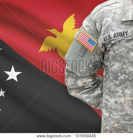 American Soldier With Flag On Background - Papua New Guinea