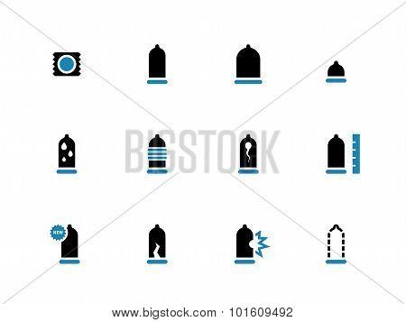 Condoms duotone icons on white background.