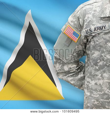 American Soldier With Flag On Background - Saint Lucia