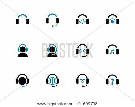 Headphone duotone icons on white background.