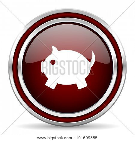 piggy bank red glossy web icon