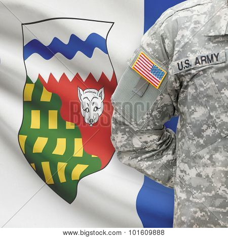 American Soldier With Canadian Province Flag On Background - Northwest Territories