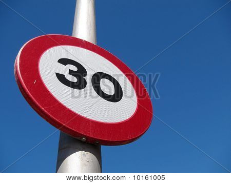 Spanish 30 kph road sign.
