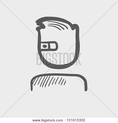 Man in augmented reality glasses sketch icon for web, mobile and infographics. Hand drawn vector dark grey icon isolated on light grey background.