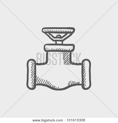 Gas pipe valve sketch icon for web, mobile and infographics. Hand drawn vector dark grey icon isolated on light grey background.