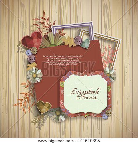 frames & scrapbook elements on wooden texture