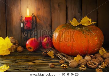 Halloween - Pumpkin, Nuts, Apples With Candlelight