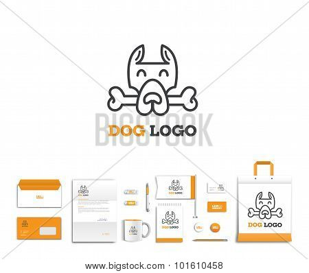 Vector artistic corporate identity template with dog logo and colorful elements.