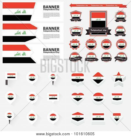 Iraq Independence Day, Infographic, And Label Set.