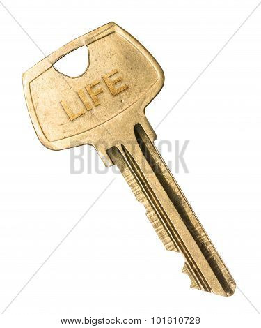 Old worn golden key