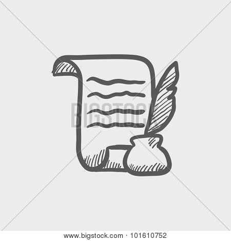 Paper scroll with feather pen sketch icon for web, mobile and infographics. Hand drawn vector dark grey icon isolated on light grey background.