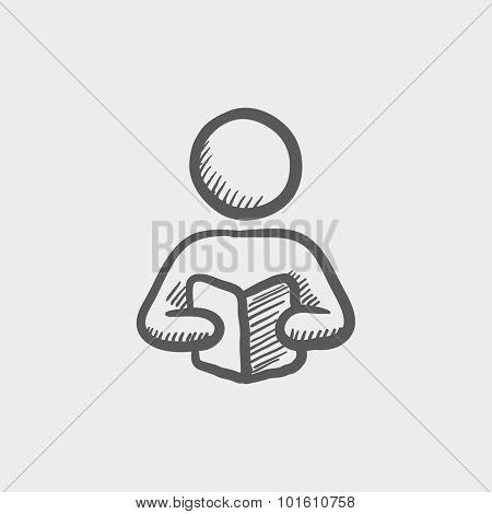 Man reading a book sketch icon for web, mobile and infographics. Hand drawn vector dark grey icon isolated on light grey background.
