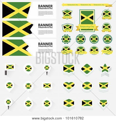 Jamaica Independence Day, Infographic, And Label Set.