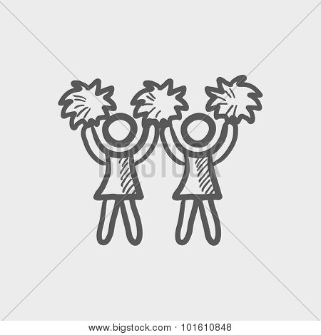 Cheerleaders sketch icon for web, mobile and infographics. Hand drawn vector dark grey icon isolated on light grey background.