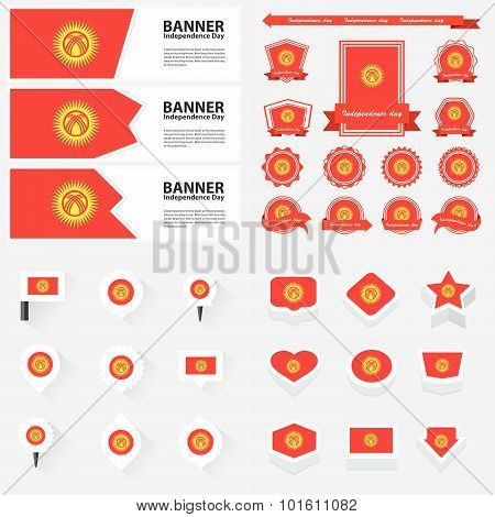 Kyrgyzstan Independence Day, Infographic, And Label Set.