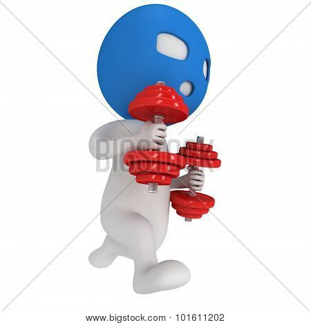 3D Man In Mask Running With Weights