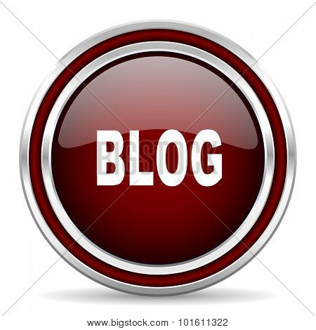 blog red glossy web icon