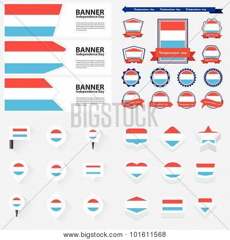 Luxembourg Independence Day, Infographic, And Label Set.