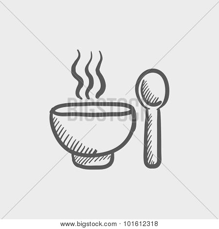 Bowl of hot soup with spoon sketch icon for web, mobile and infographics. Hand drawn vector dark grey icon isolated on light grey background.