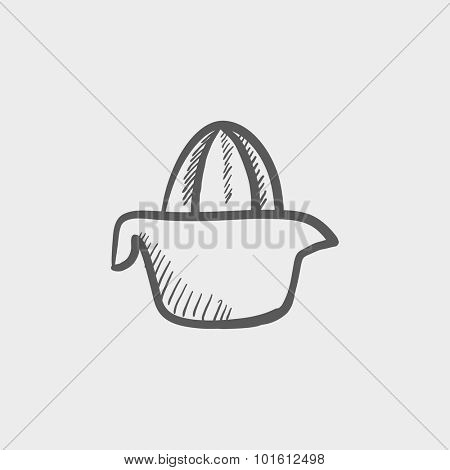 Lemon squeezer sketch icon for web, mobile and infographics. Hand drawn vector dark grey icon isolated on light grey background.