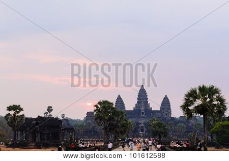 Sunrise at Angkor Wat, part of Khmer temple complex, popular among tourists ancient landmark and place of worship in Southeast Asia. Siem Reap, Cambodia.
